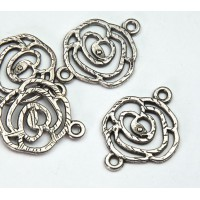 20x27mm Filigree Rose Links, Antique Silver, Pack of 6
