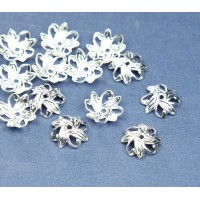 10mm Crossed Leaves Bead Caps, Silver Plated
