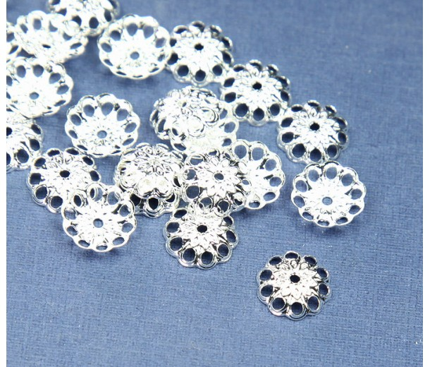 8mm Fancy Round Bead Caps, Silver Plated, Pack of 50