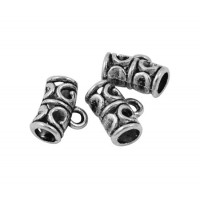 9x11mm Ornate Bali Style Bails, Antique Silver, Pack of 10