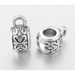 10x6mm Puffy Ornate Bails, Antique Silver