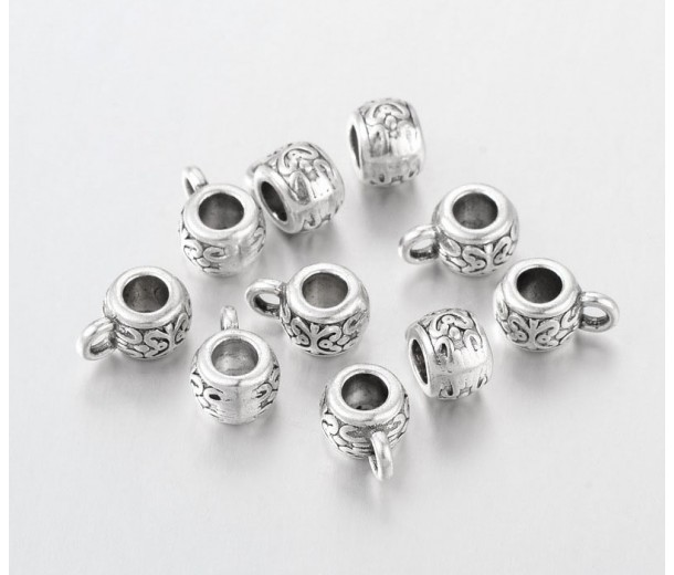 10x6mm Puffy Ornate Bails, Antique Silver, Pack of 10