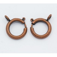15mm Spring Ring Clasps, Antique Copper, Pack of 10