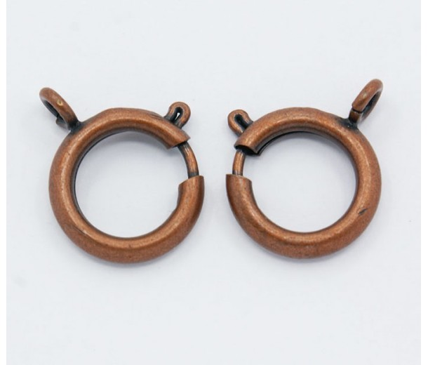 15mm Spring Ring Clasps, Antique Copper