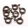 9mm Spring Ring Clasps, Antique Brass, Pack of 10