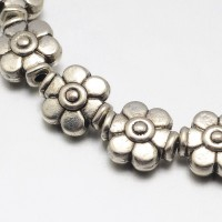 9mm Flower Beads, Antique Silver
