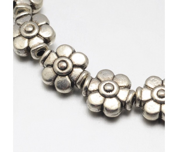 9mm Flower Beads, Antique Silver, 8 Inch Strand