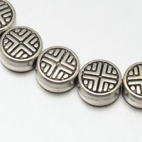 6mm Flat Round Cross Beads, Antique Silver