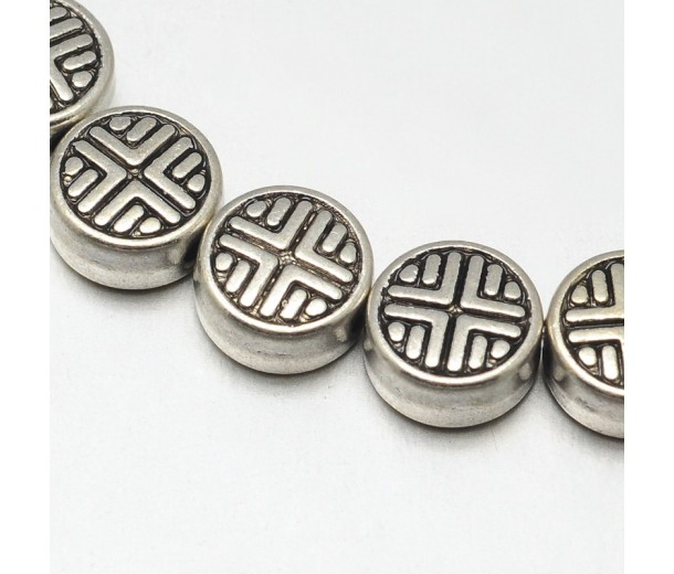 6mm Flat Round Cross Beads, Antique Silver, 8 Inch Strand