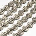 11mm Flat Round Swirl Beads, Antique Silver, 8 Inch Strand