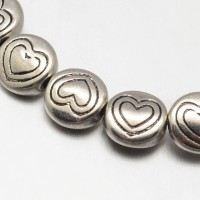 6mm Flat Round Heart Beads, Antique Silver