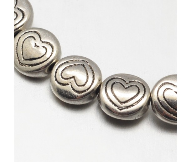 6mm Flat Round Heart Beads, Antique Silver, 8 Inch Strand