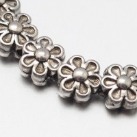 6mm Flower Beads, Antique Silver