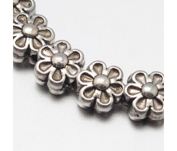 6mm Flower Beads, Antique Silver, 8 Inch Strand