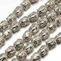 11mm Buddha Head Beads, Antique Silver, 8 Inch Strand