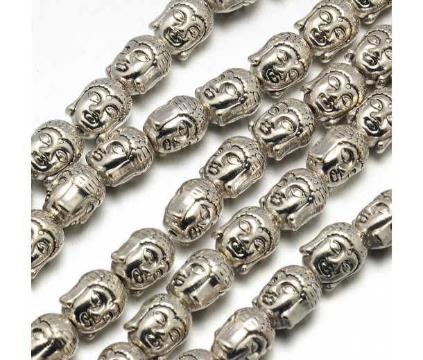 11mm Buddha Head Beads, Antique Silver