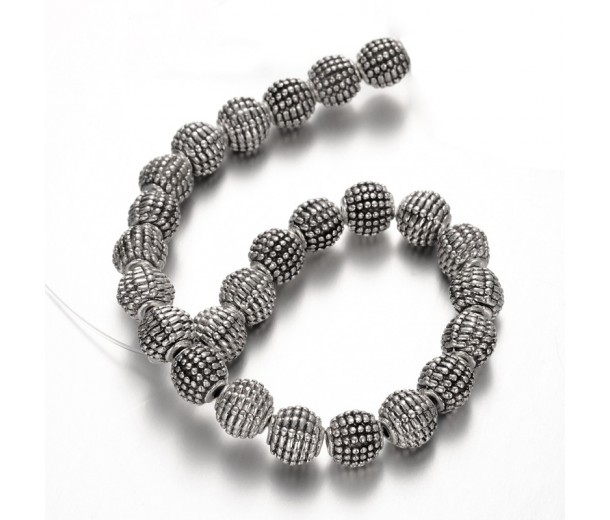 9mm Fancy Round Beads, Antique Silver