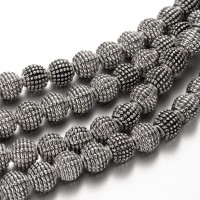 9mm Fancy Round Beads, Antique Silver, 8 Inch Strand