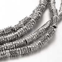 7mm Tibetan Style Column Beads, Antique Silver, 8 Inch Strand