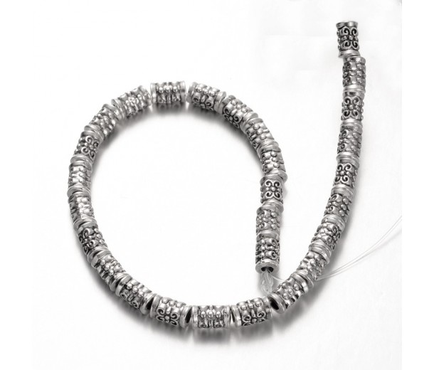 7mm Tibetan Style Column Beads, Antique Silver