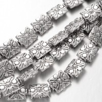 12mm Rectangle Beads, Antique Silver, 8 Inch Strand
