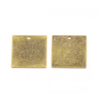 20mm Square Stamping Blanks, Antique Brass, Pack of 7
