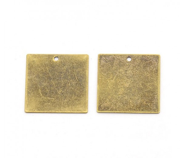 20mm Square Stamping Blank, Antique Brass