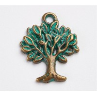 21x16mm Tree of Life Charms, Green Patina