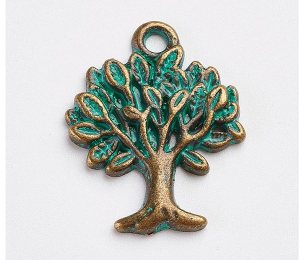 21x16mm Tree of Life Charms, Green Patina, Pack of 8