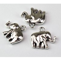 18x20mm Medium Elephant Charm, Antique Silver, 1 Piece