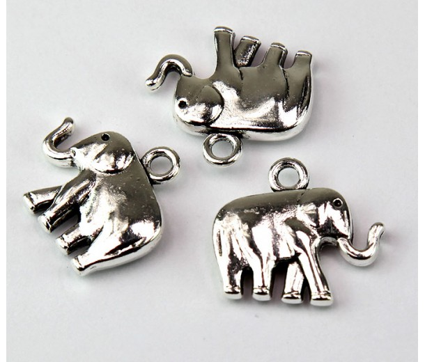 18x20mm Medium Elephant Charm, Antique Silver, 1 Piece