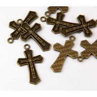 31mm Rosary Cross Charms, Antique Brass, Pack of 5