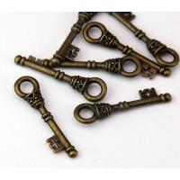 35mm Medieval Key Charm, Antique Brass, 1 Piece
