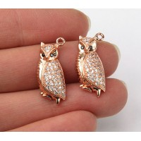 21mm Owl Cubic Zirconia Charm, Rose Gold Tone