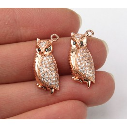 21mm Owl Cubic Zirconia Charm, Rose Gold Tone