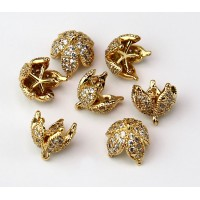 9mm Flower Cap Cubic Zirconia Charm, Gold Tone