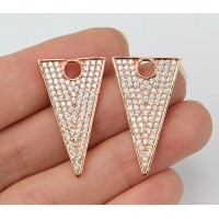 27mm Triangle Cubic Zirconia Pendant, Rose Gold Tone