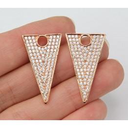 27mm Triangle Cubic Zirconia Pendant, Rose Gold Tone