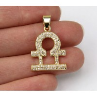 22mm Libra Zodiac Sign Cubic Zirconia Pendant, Gold Tone