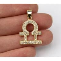 22mm Libra Zodiac Sign Cubic Zirconia Pendant, Gold Tone