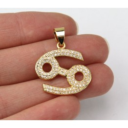 21mm Cancer Zodiac Sign Cubic Zirconia Pendant, Gold Tone