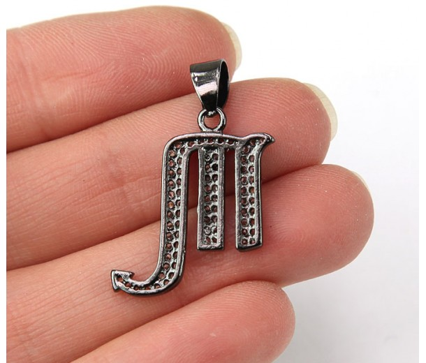 22mm Scorpio Zodiac Sign Cubic Zirconia Pendant, Black Finish