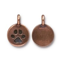12mm Paw Print Charm by TierraCast, Antique Copper, 1 Piece