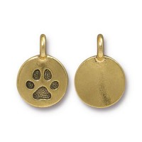 12mm Paw Print Charm by TierraCast, Antique Gold