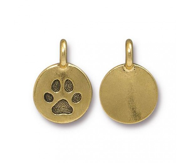 12mm Paw Print Charm by TierraCast, Antique Gold, 1 Piece