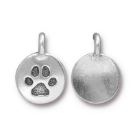 12mm Paw Print Charm by TierraCast, Antique Silver