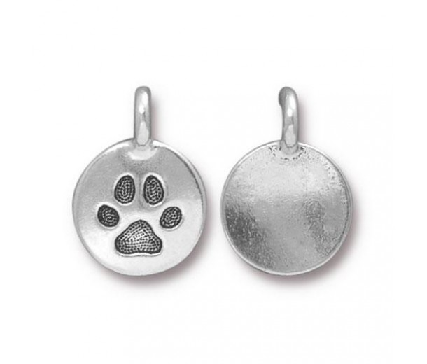 12mm Paw Print Charm by TierraCast, Antique Silver, 1 Piece