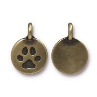 12mm Paw Print Charm by TierraCast, Antique Brass, 1 Piece