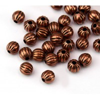 6mm Premium Corrugated Round Beads, Antique Copper, Pack of 50