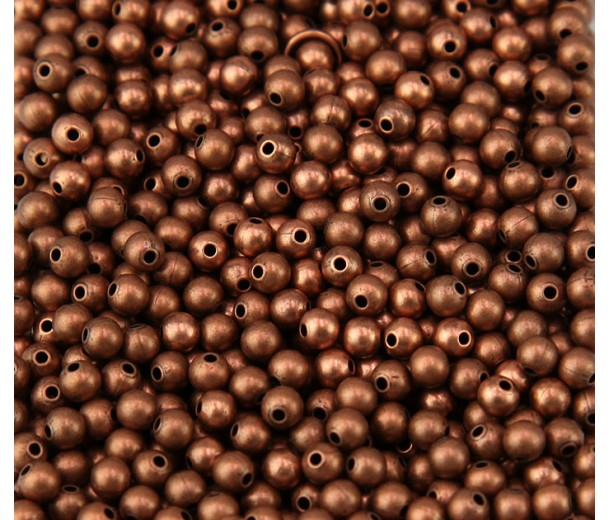 3mm Smooth Round Beads, Antique Copper, Pack of 100